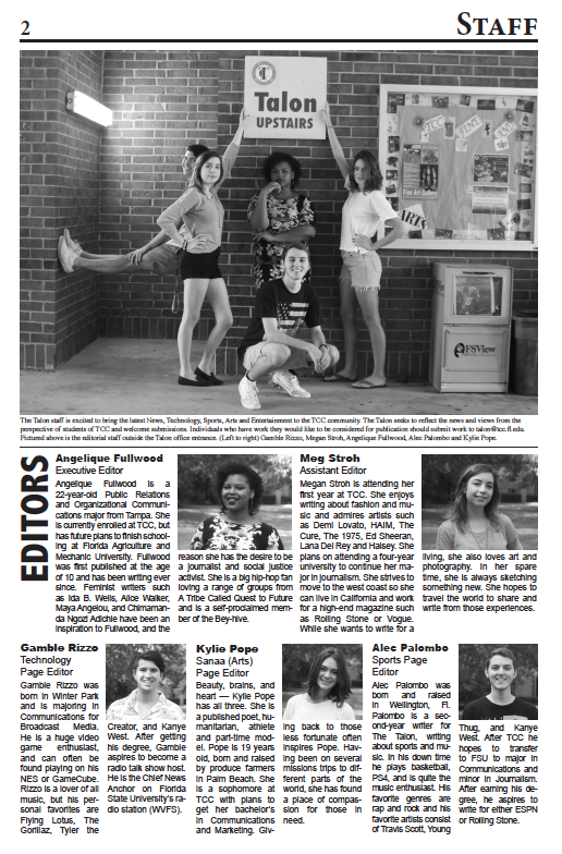 Editors of The Talon newspaper pose for a photo opportunity
