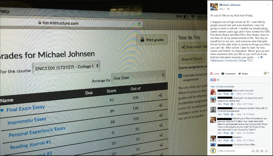 TCC Student Michael Johnsen posts his final grade on Facebook