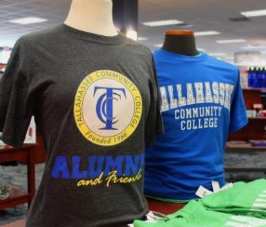T-shirts on display in the TCC Bookstore