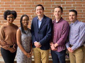 L-R Imani Oteghile, Alexis Martin, M. Dylan Ceballos, Joshua Reynolds, Thomas Ruriani (Lindsey Bassford, Alida Desic and Hunter Kilbourn not pictured)