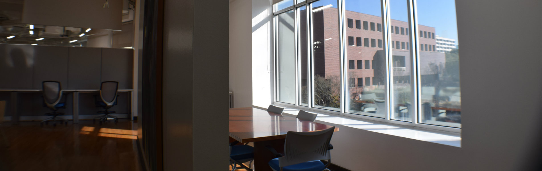 Conference room at the Institute for Nonprofit Innovation and Excellence overlooking City Hall Tallahassee