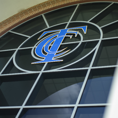 Learning Commons window with TCC logo