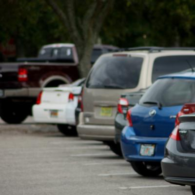 Cars parked in a student parking lot on main campus at TCC